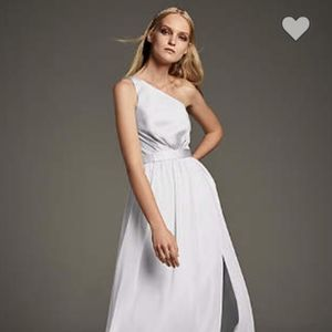 White by Vera Wang One-Shoulder Dress in sterling